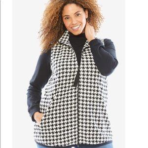 Houndstooth micro fleece vest